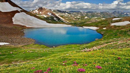 lake, mountains, flowers