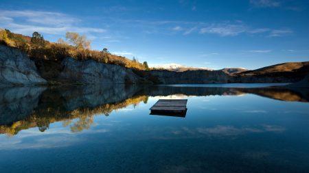 lake, mountains, platform