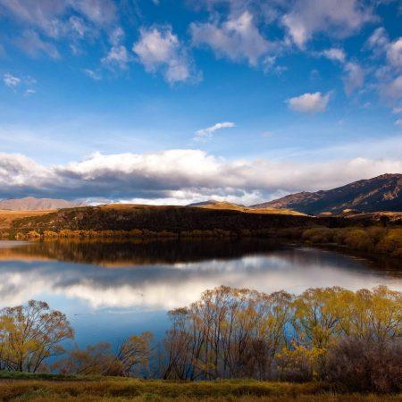 lake, mountains, sky