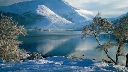 lake, mountains, snow