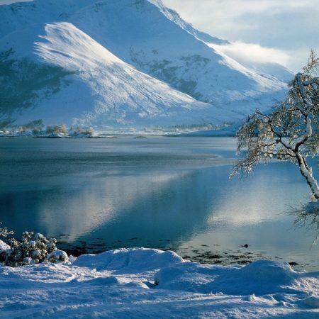 lake, mountains, snow