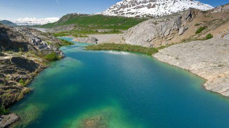 lake, mountains, water
