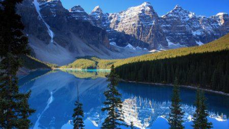 lake, mountains, wood