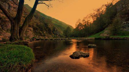 lake, pond, stones