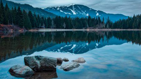 lake, rocks, mountains