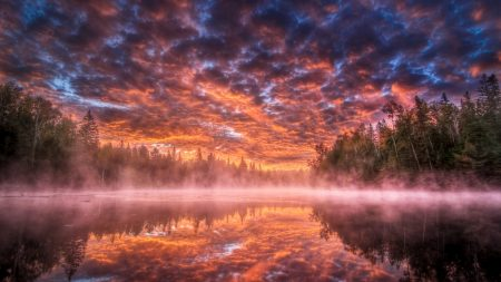 lake, steam, fog