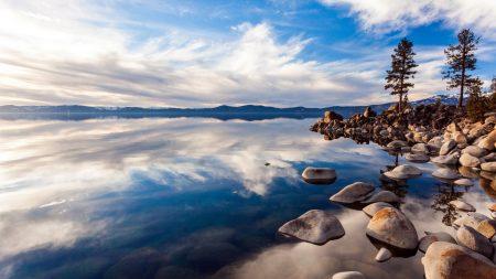 lake, stones, day