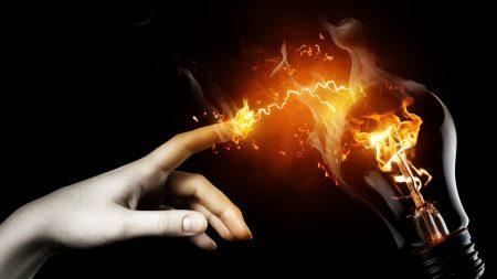 lamp, finger, hand