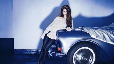 lana del ray, brunette, car