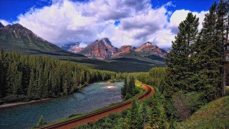landscape, mountains, railroad