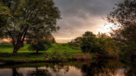 landscape, reservoir, trees