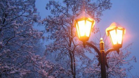 lantern, winter, snow