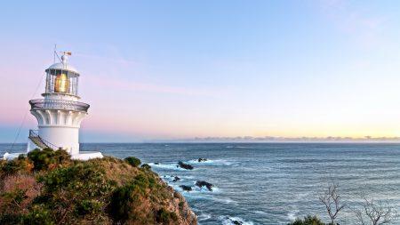 lighthouse, storm, sea