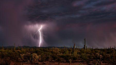 lightning, category, desert
