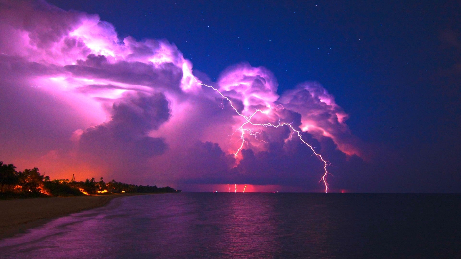 download wallpaper 1920x1080 lightning elements coast