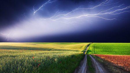 lightning, field, road