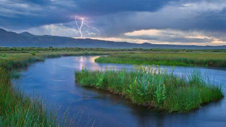 lightning, river, island
