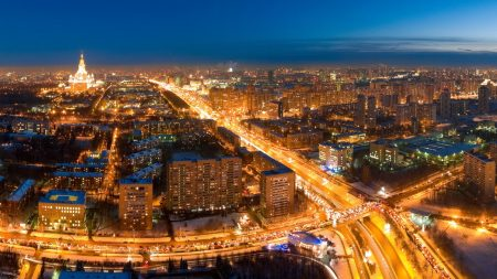 lights, road, moscow