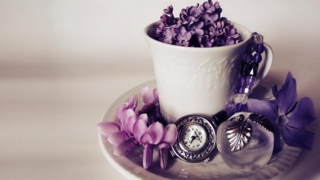 lilacs, flowers, watches