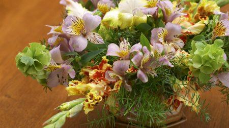 lilies, gladioli, herbs