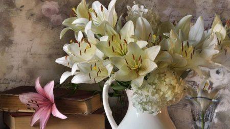 lilies, hydrangeas, flower