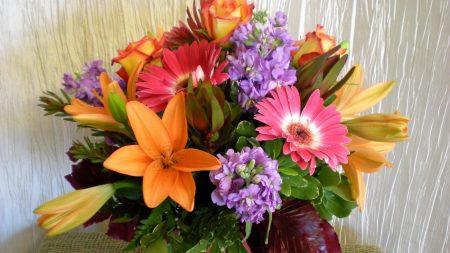 lilies, roses, gerberas
