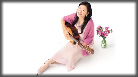 lisa ono, guitar, flower