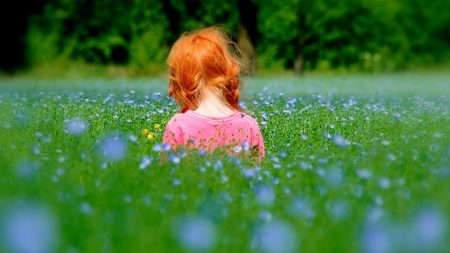 little girl, grass, sitting