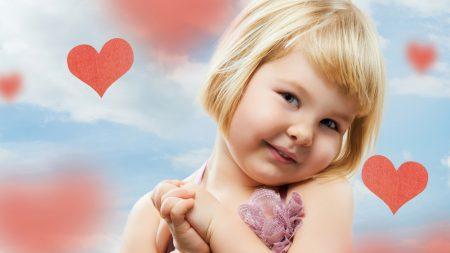 little girl, happy, heart