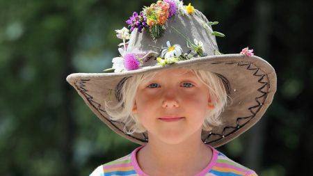 little girl, hat, flower