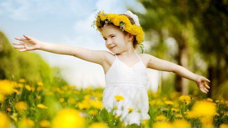 little girl, meadow, mood