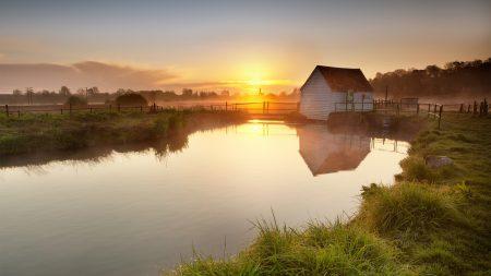 lodge, lake, dawn