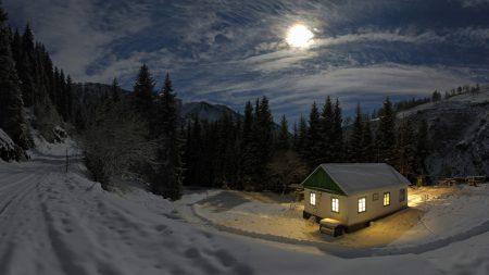 lodge, light, moon