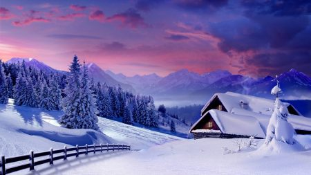 lodges, snow, winter