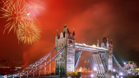 london, bridge, fireworks