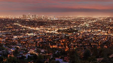 los angeles, night, view from above