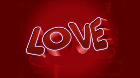 love, sign, red