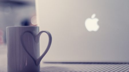 macbook, apple, cup
