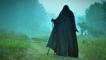 man, field, cloak