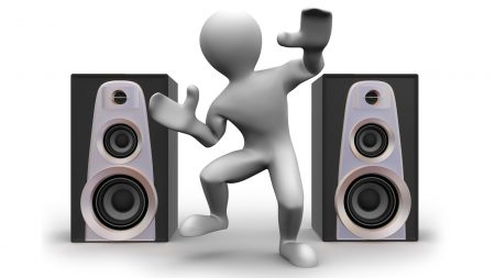 man, figure, speakers