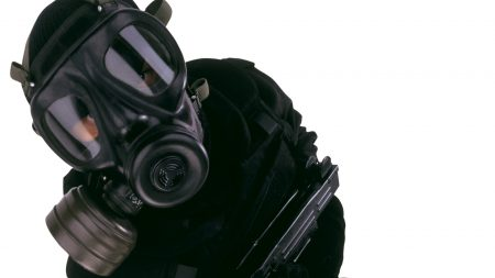 man, gas mask, face