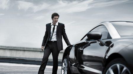 man, tuxedo, car