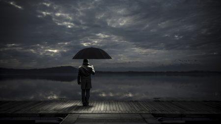 man, umbrella, night