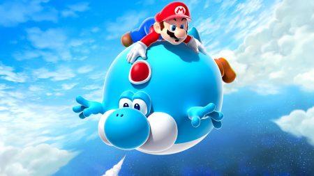 mario, air balloon, yoshi