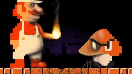 mario, fire, mustache