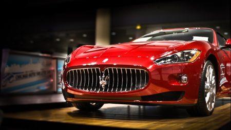 maserati, car, red