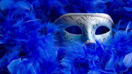 mask, feathers, female