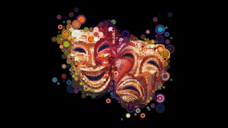 masks, emotions, colorful