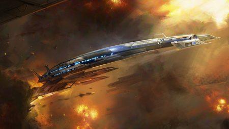 mass effect 3, ship, fire