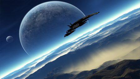 mass effect, ship, planets